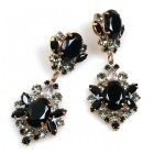 Aztec Sun Earrings Pierced ~ Smoke Crystal Black Clear