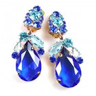 Fountain Clips-on Earrings ~ Aqua Tones with Blue
