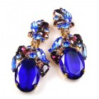 Fiore Clips Earrings ~ Blue Ovals with Purple
