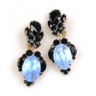 Dragon Eyes Clips-on Earrings ~ Black Opaque Azure