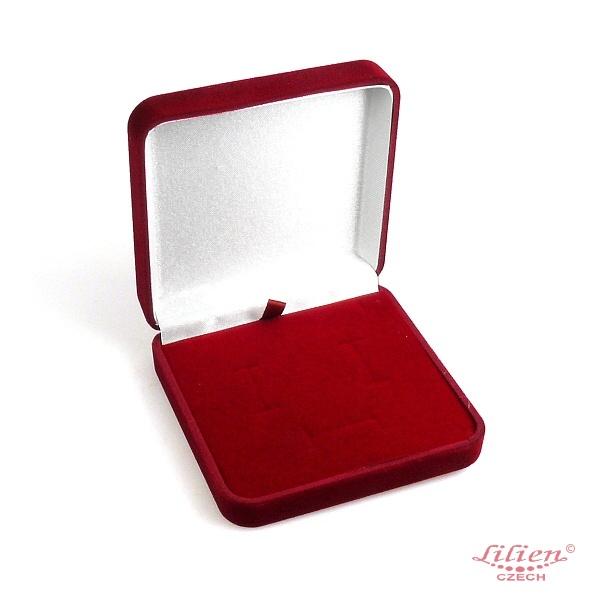 Jewelry Box BroochEarrings 9cm x 9cm x 25cm Burgundy LILIEN