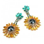 Sunflower Earrings ~ Dangling with Clips