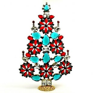 2019 Xmas Tree Stand-up Decoration 22cm ~ Red Emerald