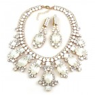 Absolue Necklace Set with Earrings ~ Opaque White and Crystal