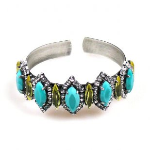 Lucia Cuff Bracelet ~ Turquoise Yellow ~ Antique Silver