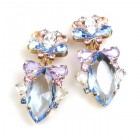 Floralie Earrings with Clips ~ Sapphire and Colors
