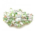 Empress Barrette Hairclasp ~ Clear Crystal Peridot Green