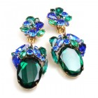 Fiore Clips Earrings ~ Emerald with Blue