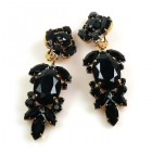 Iris Grande Clips Earrings ~ Black