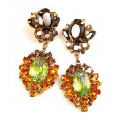 Aztec Sun Earrings Pierced ~ Topaz Tones with Silver Lime