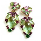 Mythique Extra Clips-on Earrings ~ Green Pink