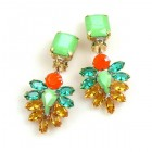 Perceive Earrings with Clips ~ Opaque Green Topaz Hyacinth
