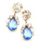 Fountain Earrings for Pierced Ears ~ Clear with Sapphire