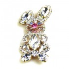 Bunny Easter Brooch Smaller ~ Clear Crystal