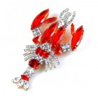 Lobster Brooch ~ Red Hyacinth and Clear Crystal