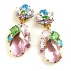 Fountain Clips-on Earrings ~ Pastel Tones with Pink