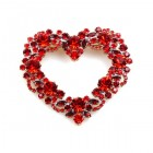 Delicate Heart Brooch ~ Red