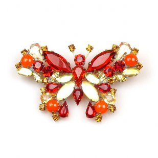Multicolor Butterfly Brooch ~ Hyacinth Yellow Red