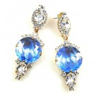 Taj Mahal Earrings Pierced ~ Clear with Silver Sapphire