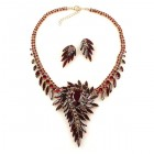 Spiral Necklace with Earrings ~ Garnet