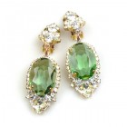 Ovals Clips-on Earrings ~ Crystal Green