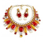 Crystal Shine Necklace Set ~ Clear Crystal Red Topaz