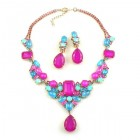 Neon Flame Necklace with Earrings ~ Neon Fuchsia with Aqua Blue