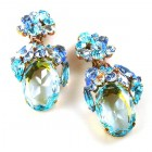 Fiore Pierced Earrings ~ Aqua Ovals with Aqua and Sapphire