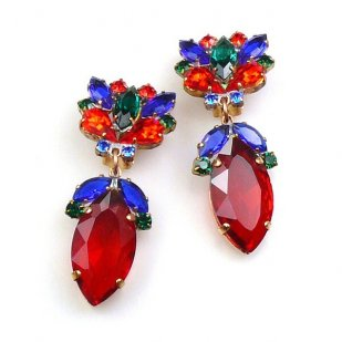 Floralie Earrings with Clips ~ Red Multicolor
