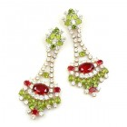 Autumn Splendour Earrings Pierced ~ Red Olive Green Crystal
