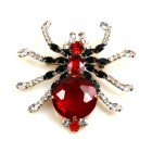 Little Spider Pin ~ Red and Clear Crystal