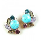 Empress Earrings Round Stone Pierced ~ Violet Aqua Tones
