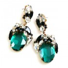 Fiore Pierced Earrings ~ Emerald with Black and Clear