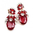 Extra Elipse Earrings Long Clips ~ Red and Clear Crystal