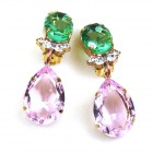 Effervescence Earrings with Clips ~ Pink Green
