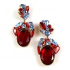 Fiore Pierced Earrings ~ Ruby Red with Sapphire