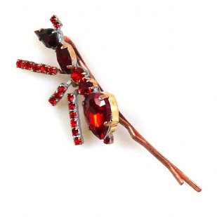Ant Rhinestone Hairpin ~ Red