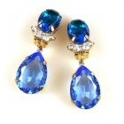 Effervescence Earrings with Clips ~ Sapphire Blue