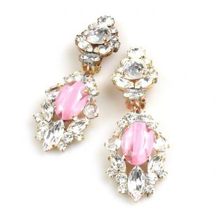 Crystal Gate Clips-on Earrings ~ Opaque Pink