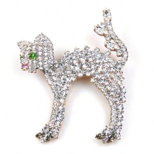 Bristled Cat Pin ~ White