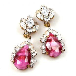 Fountain Clips-on Earrings ~ Crystal with Extra Fuchsia
