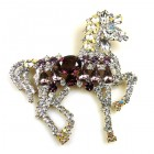Liberty Horse Brooch ~ White with Purple