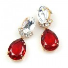 Effervescence Earrings for Pierced Ears ~ Red Clear