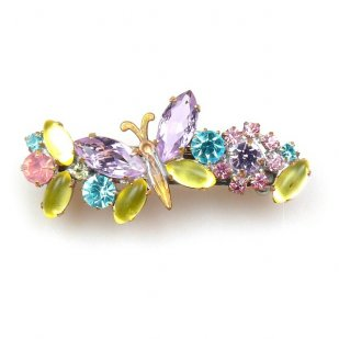 Barrette Clip with Butterfly ~ Multicolor with Violet
