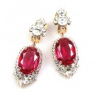Ovals Clips-on Earrings ~ Crystal Fuchsia