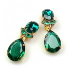 Effervescence Earrings with Clips ~ Emerald