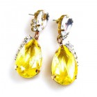 Drops Earrings #2 Pierced ~ Clear with Silver Yellow