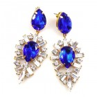 Ella Earrings Pierced ~ Baguettes and Pears ~ Blue
