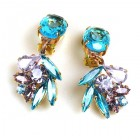 Close to Heaven Clips Earrings ~ Violet Aqua