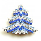 Xmas Tree Brooch Baguettes ~ Blue Sapphire